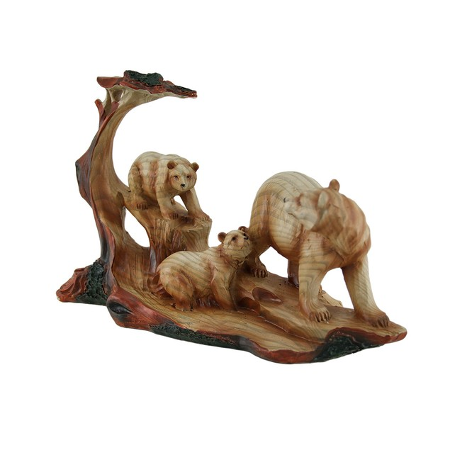Mother Bear And Cubs Carved Wood Look Resin Statue Statues
