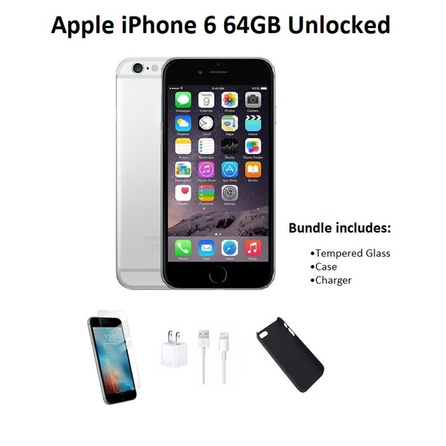 Apple iPhone 6 Unlocked 64GB Bundle (Tempered Glass, Charger & Case)