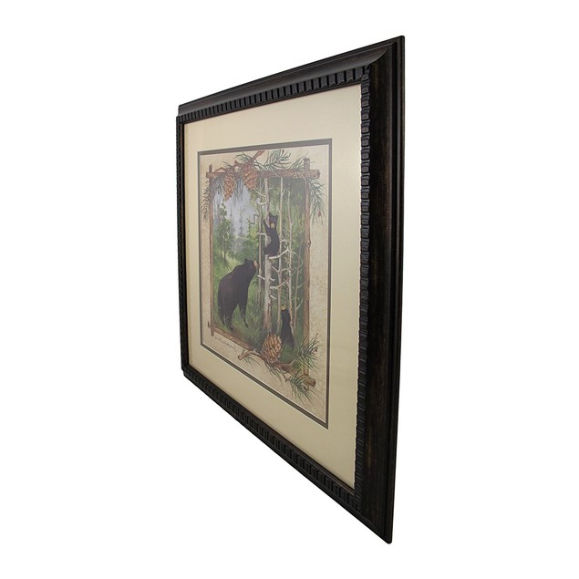 Framed Black Bear And Cubs Forest Watercolor Print Prints