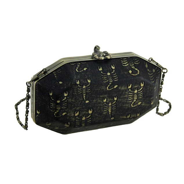 Black Embossed Scorpion Clutch Purse W/Removable Womens Clutch Handbags
