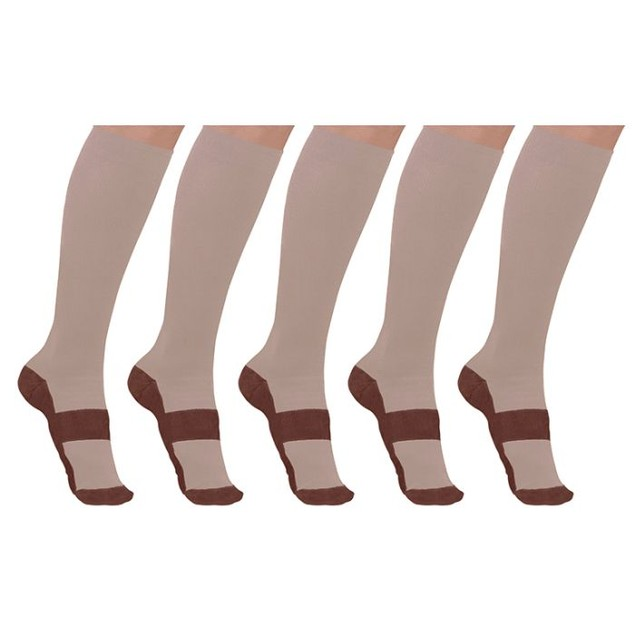 5-Pairs of Unisex Copper-Infused Compression Socks