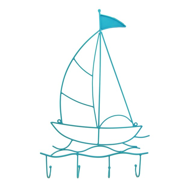 Cool Blue Metal Sailboat Nautical Style Wall Hook Coat Hooks