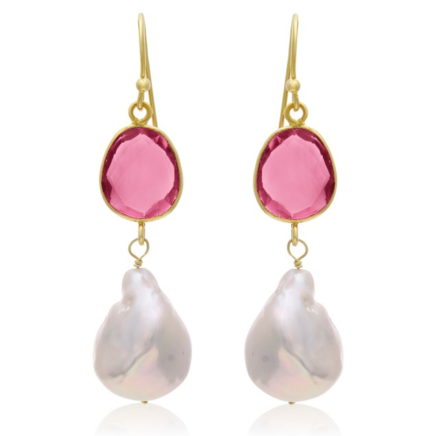 14k Yellow Gold 64ct Raspberry Quartz and Baroque Pearl Dangle Earrings