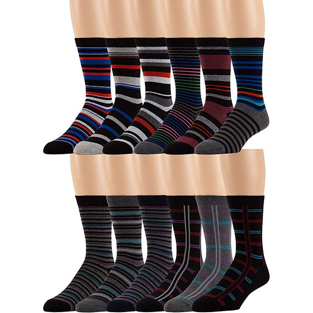24-Pack Men's Premium Combed Cotton Fashion Dress Socks