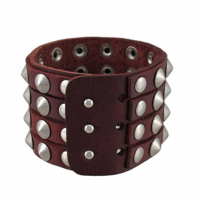 Brown Leather 4 Row Cone Spiked Wristband Wrist Mens Leather Bracelets