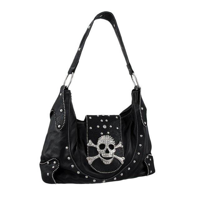 Black Snakeskin Rhinestone Skull Buckle Handbag Womens Shoulder Handbags
