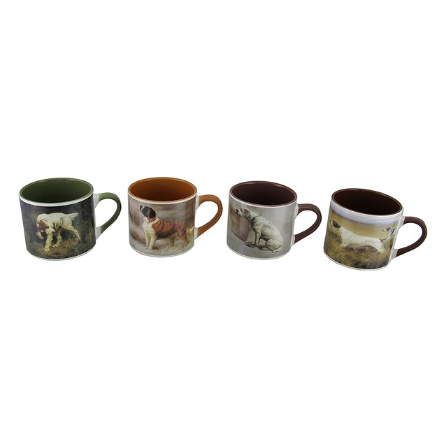Set Of 4 American Kennel Club Dog Painting Ceramic Novelty Coffee Mugs