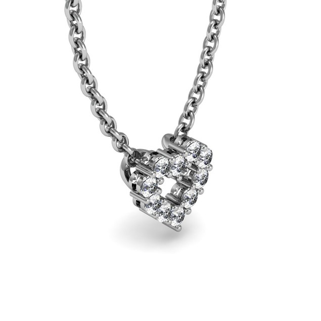 Sterling Silver 1/3 Carat Diamond Heart Necklace