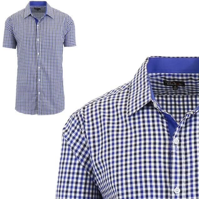 Men's Short Sleeve Slim-Fit Casual Gingham Dress Shirts