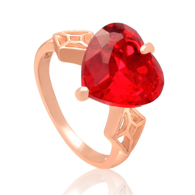 7 Carat Crystal Ruby Heart Ring In 18 Karat Rose Gold Overlay