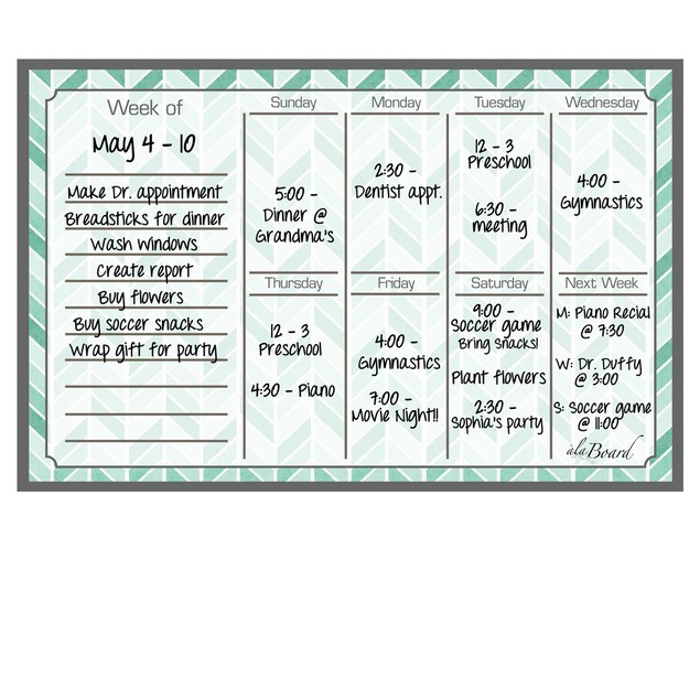 Weekly Calendar Magnet (11.5 x 7.5) - 4 Colors