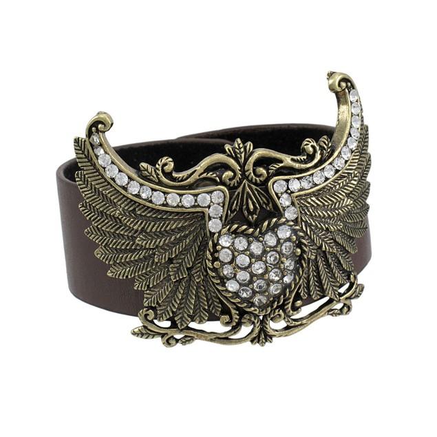 Brown Vinyl Winged Rhinestone Heart Bracelet Womens Cuff Bracelets