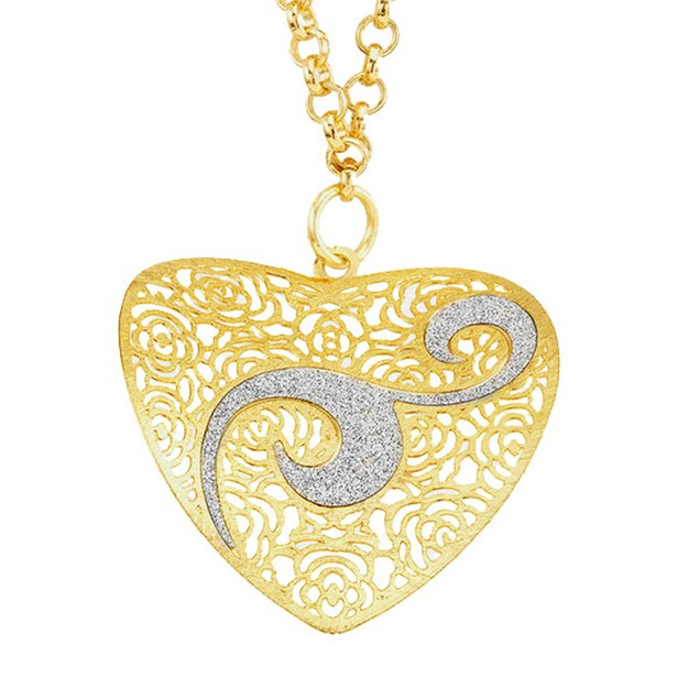 18kt Gold Plated Heart Swirl Glitter Necklace