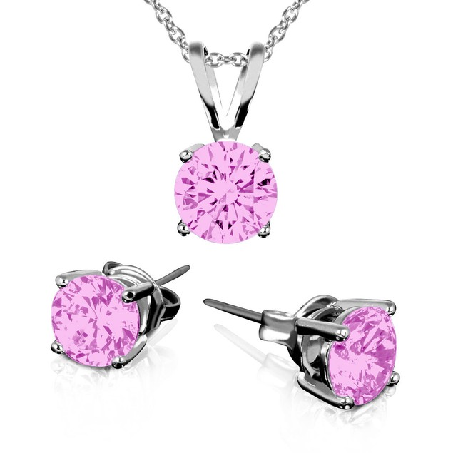 Birthstone Sterling Silver Earring & Pendant Set