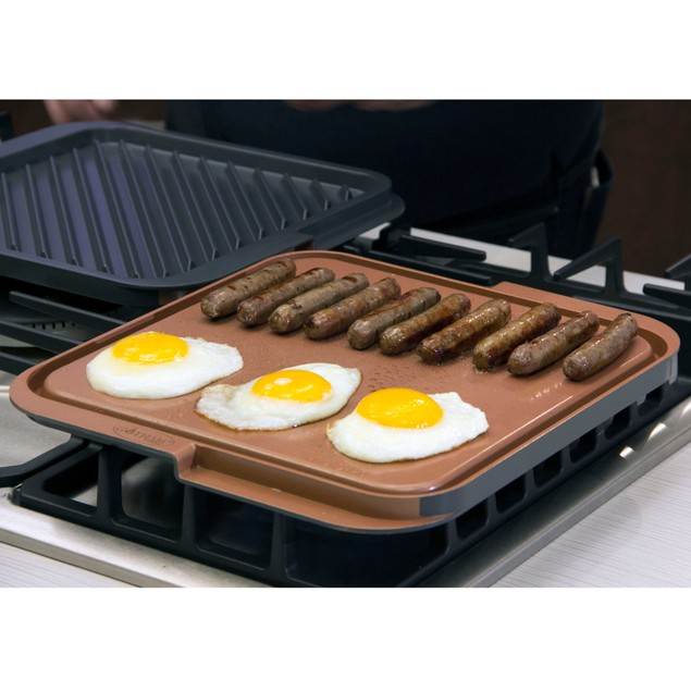 Gotham Steel Nonstick Copper Double Grill And Griddle As