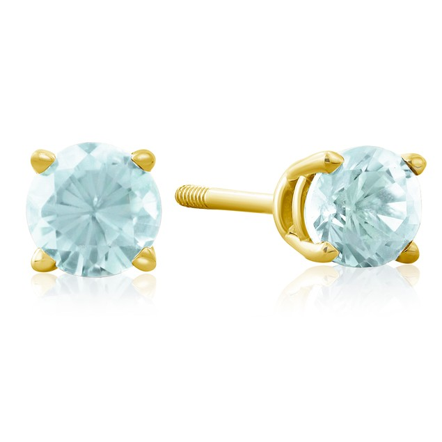 1/2 Carat Blue Topaz Stud Earrings in 14k Yellow Gold