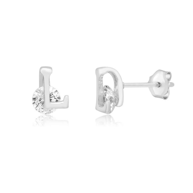 Cubic Zirconia Intial Stud Earrings