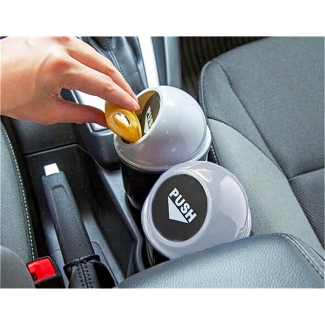Zone Tech Black Gray Portable Mini Car Can Holder Litter Bin