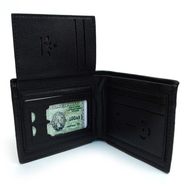 Men's Black Bi-Fold Wallet & 2 Pens Set