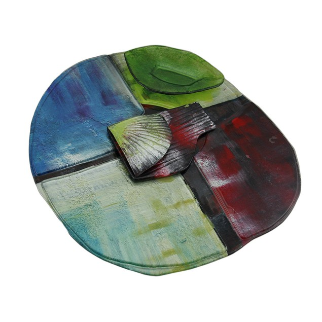 Abstract Multicolored Fused Art Glass Sushi Decorative Platters
