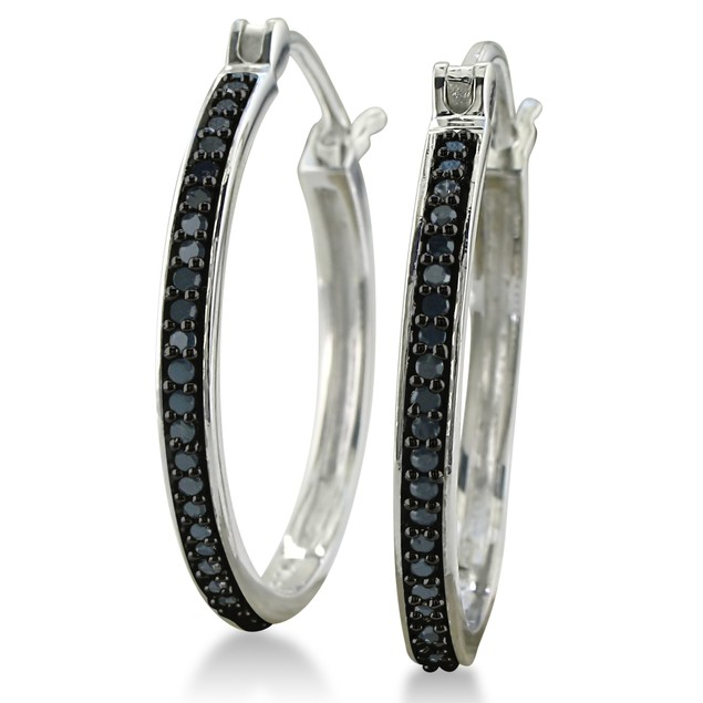 Sterling Silver 1/4ct Black Diamond Hoop Earrings