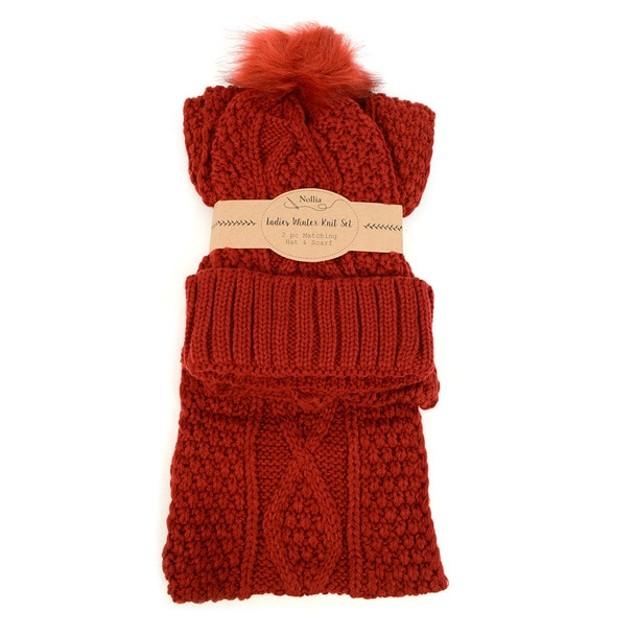 Ladies Knit Hat & Infinity Scarf Winter Set