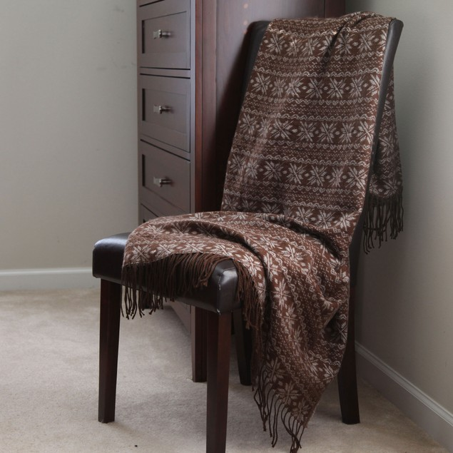 Lavish Home Jacquard Throw - Brown