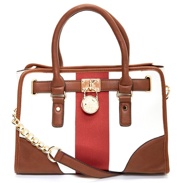 MKF Collection Quill Padlock Color Block Satchel w/ Shoulder Strap