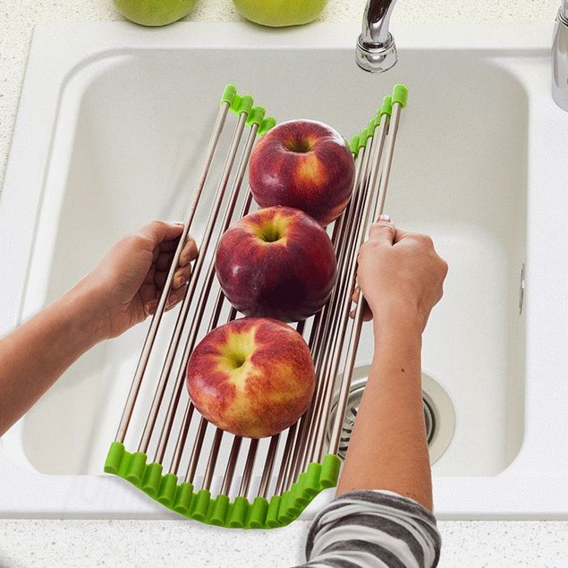 Wide Folding Drain Sink Rack - Stainless Colander