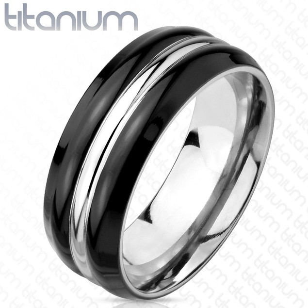 Two Tone Silver Line Center Black IP Titanium Ring