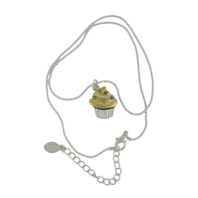 Rhinestone Cupcake Pendant Dainty Bead Necklace Womens Pendant Necklaces