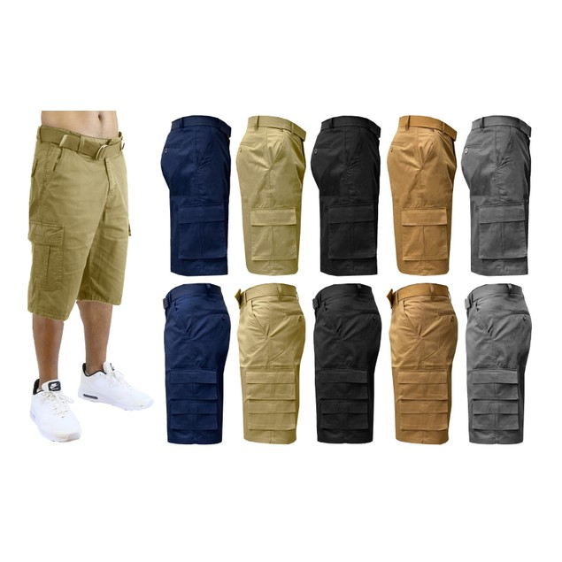 2-Pack Men's Fit 7-Pocket Cargo Shorts with Belt (Sizes 32-40)