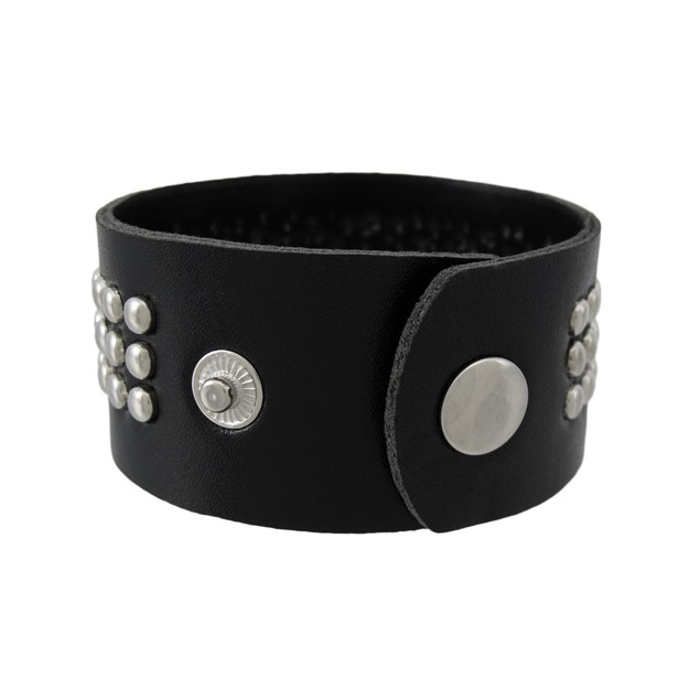 Black Vinyl Wristband With Small Chrome Studs Womens Cuff Bracelets