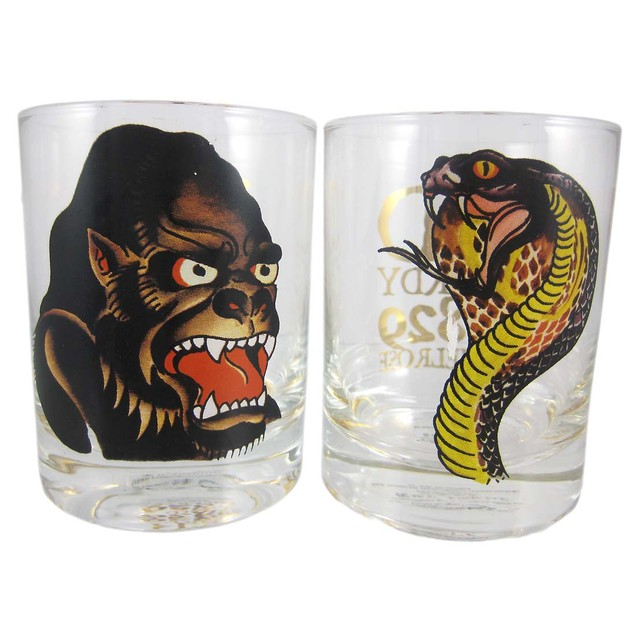 Set Of 4 Ed Hardy Predators Double Rocks Glasses Shot Glasses