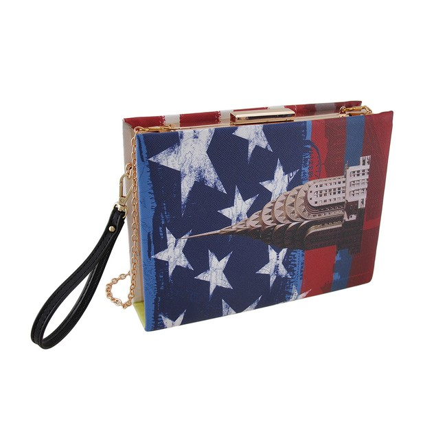God Bless America Red, White And Blue Book Clutch Womens Clutch Handbags