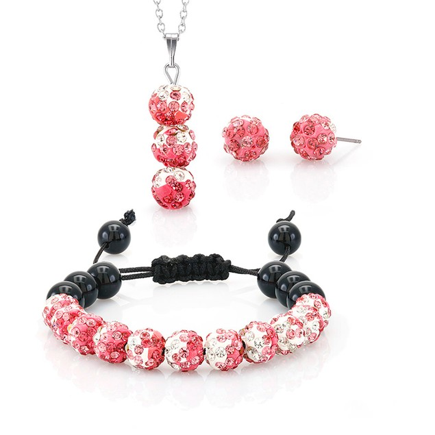Pink & White Crystal Jewelry Set