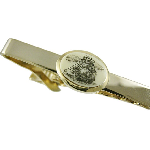 Gold Plated Scrimshaw Tall Ship Tie Bar Clip Mens Tie Clips