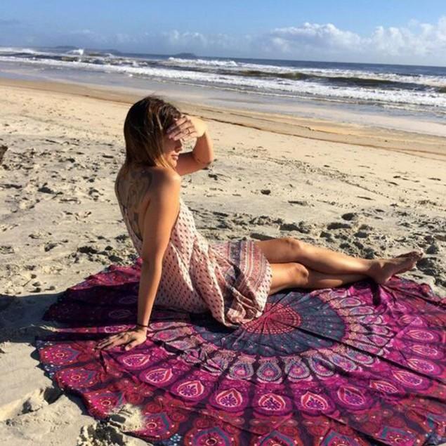 Round Chiffon Aztec Print Beach Throw