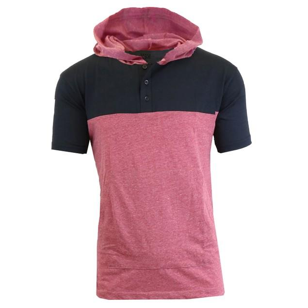 Mens Short Sleeve Henley Pullover Hoodie (M-2X)