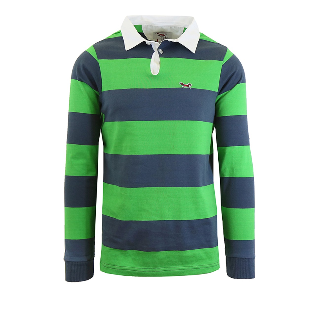 Mens Long Sleeve Cotton Striped Fitted Polo Shirt Tanga
