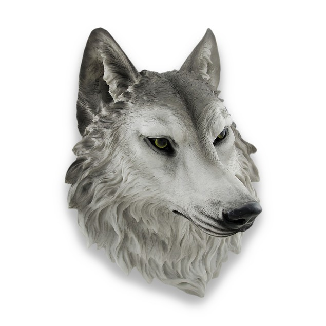 `Remus` Gray Wolf Head Mount Wall Statue Bust 16 Wall Sculptures