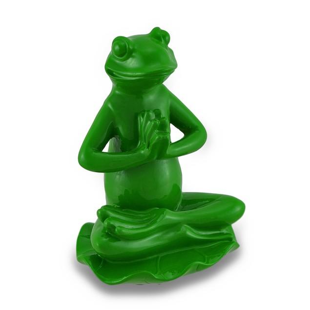 Leaf Green Lotus Position Yoga Frog Figurine Statues