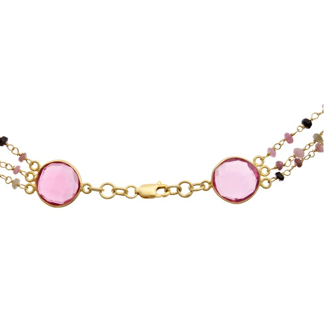 14k Yellow Gold 24ct Pink Tourmaline Triple Strand Beaded Necklace