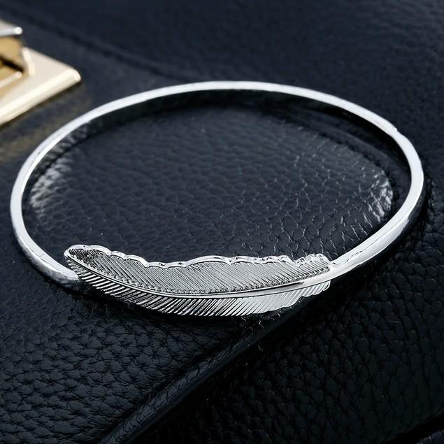 Boho Silver Feather Bangle Bracelet