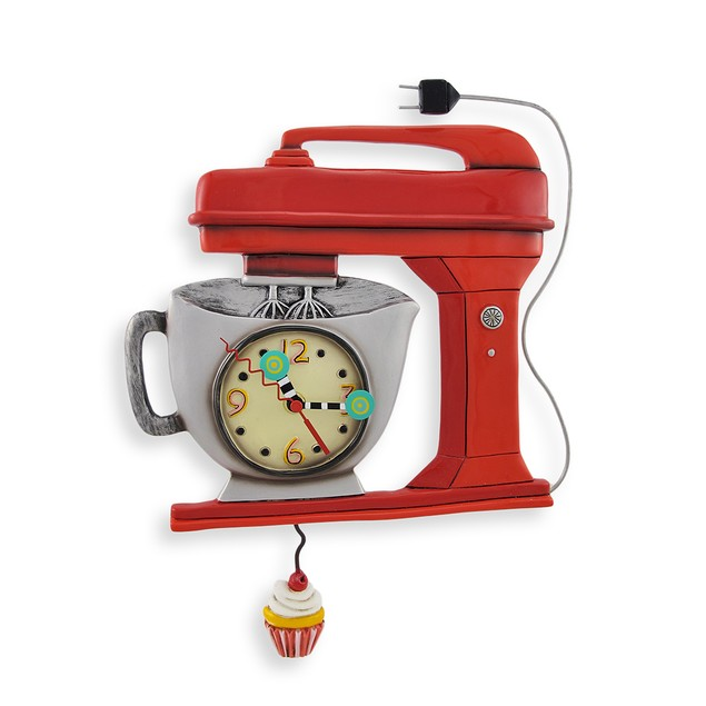 Allen Designs Red Vintage Kitchen Mixer Wall Clock Wall Clocks