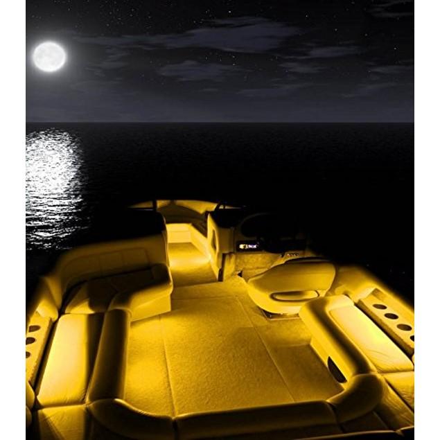 Zone Tech 4x Yellow/Amber 30cm 15 LED Car Flexible Waterproof LED Strips