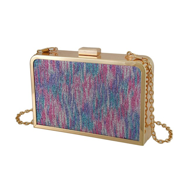 Glitter Metallic Rainbow Stained Glass Look Womens Clutch
