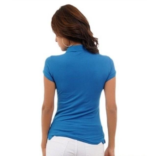 Royal Blue Short Sleeve Juniors Polo Top by C'esttoi New