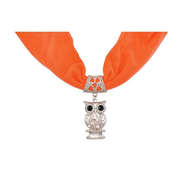 Neon Orange Rhinestone Owl Scarf and Pendant