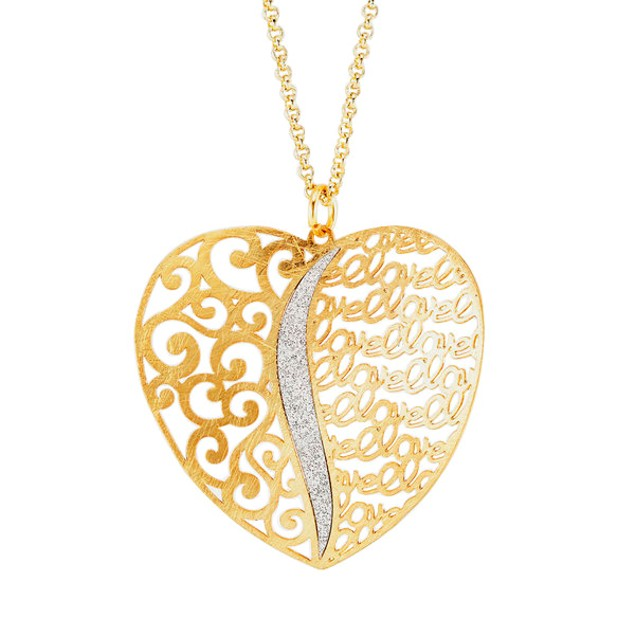 18kt Gold Plated Sterling Silver Glitter Necklace - Wide Heart